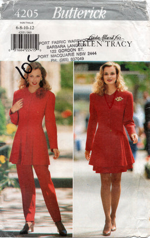 butterick 4205 90s jacket skirt and pants