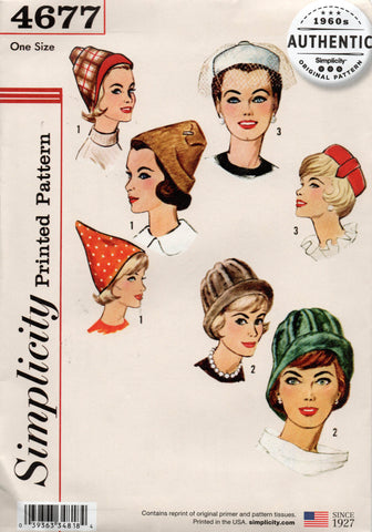 simplicity 4677 repro 60s hats
