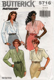 Butterick 5716 Womens FAST & EASY Wrap Blouse 80s Vintage Sewing Pattern Size 12 14 16 UNCUT Factory Folds