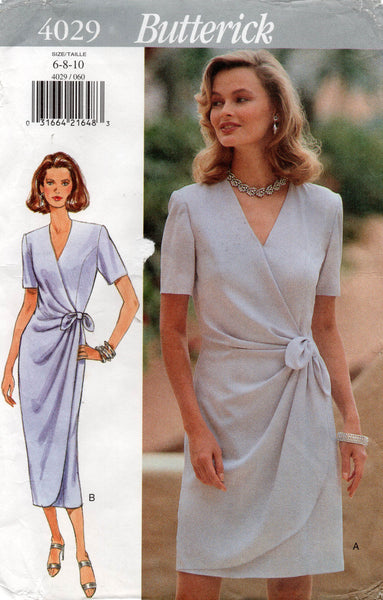 Butterick 4029 Womens Wrap Dress with Pleated Drape 1990s Vintage Sewing Pattern Size 6 8 10 UNCUT Factory Folds