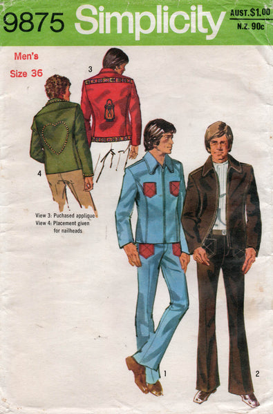 simplicity 9875 70s jacket and jeans mens