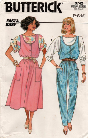 butterick 3742 80s jumpsuit jumper and top