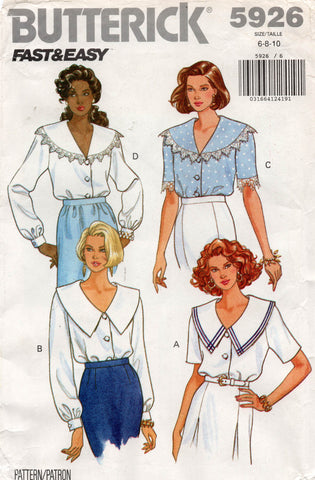butterick 5926 wide collar blouse 90s