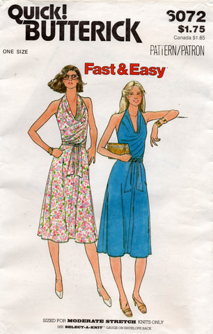 butterick 6072 80s halter stretch dress