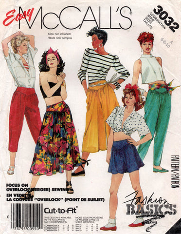 McCall's 3032 80s pants culottes skirt