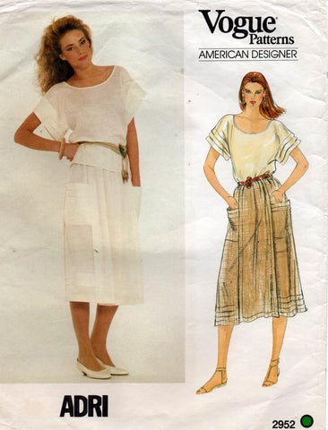 Vogue 2952 adri top and skirt 80s