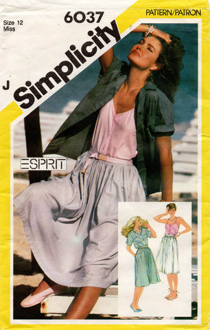 simplicity 6037 80s camisole shirt and skirt