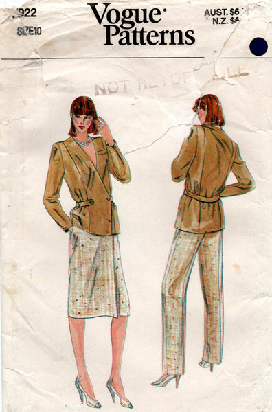vogue 9722 70s jacket pants and skirt