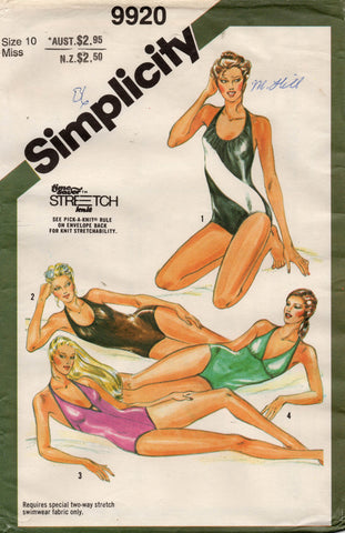 simplicity 9920 80s swimsuits