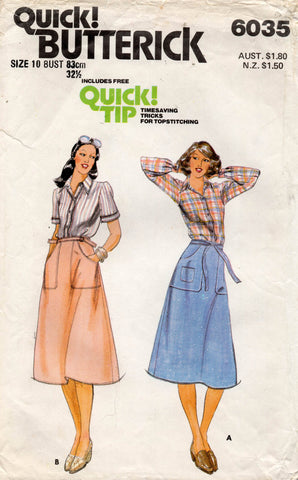 butterick 6035 70s skirt and top