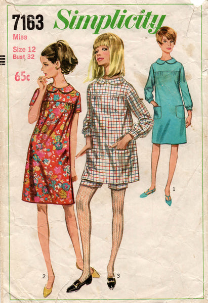 simplicity 7163 60s dress and shorts