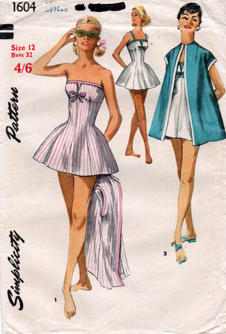simplicity 1604 50s swimsuit and coat