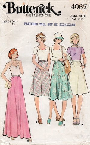 butterick 4067 70s skirts