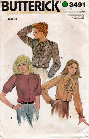 butterick 3491 80s blouse