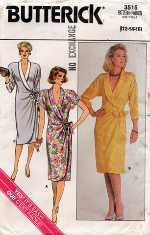 butterick 3515 80s wrap dress