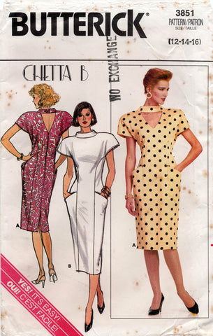 butterick 3851 chetta b dress 80s