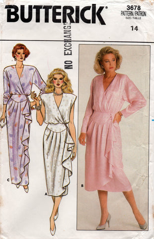 butterick 3678 80s wrap dress