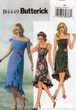 Butterick B4449 Womens Asymmetric Ruffled Dress OOP Sewing Pattern Size 6 - 12 or 14 - 20 UNCUT Factory Folded