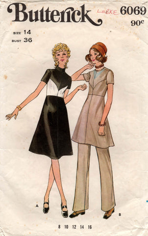 butterick 6069 70s dress and pants
