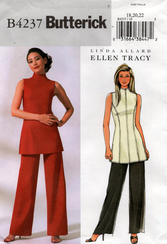 Butterick 4237 ELLEN TRACY Womens High Neck Tunic & Pants Of Print Sewing Pattern Size 18 - 22 UNCUT Factory Folds