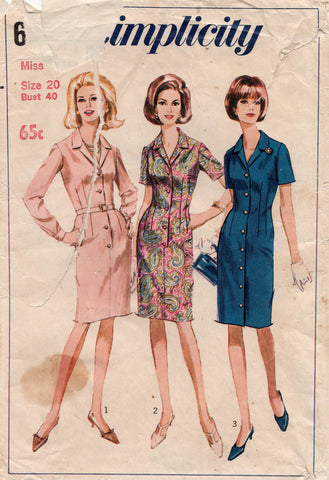 simplicity 6772 60s shirtdress