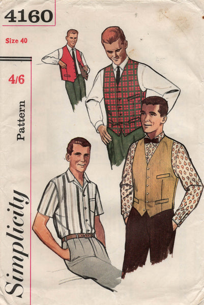 simplicity 4160 60s mens shirt and waistcoat