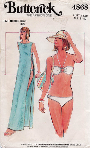 Butterick 4868 70s bikini and swimsuit