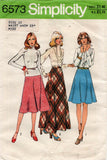 Simplicity 6573 Womens Flared Bias Maxi Skirts 1970s Vintage Sewing Pattern Size 10 or 14