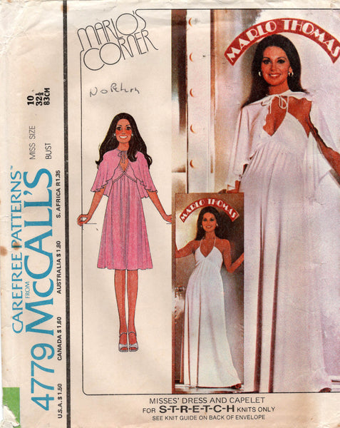 McCall's 4779 marlo's corner 70s dress and capelet