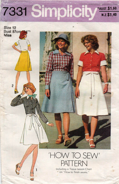 Simplicity 7331 70s skirt and blouse