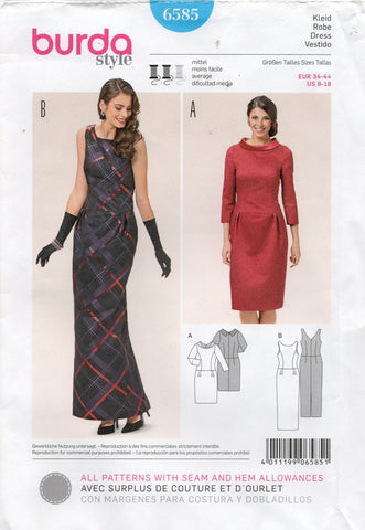 burda 6585 straight dress