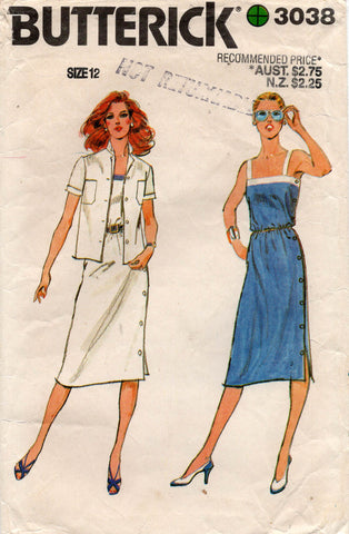 butterick 3038 80s dress and jacket