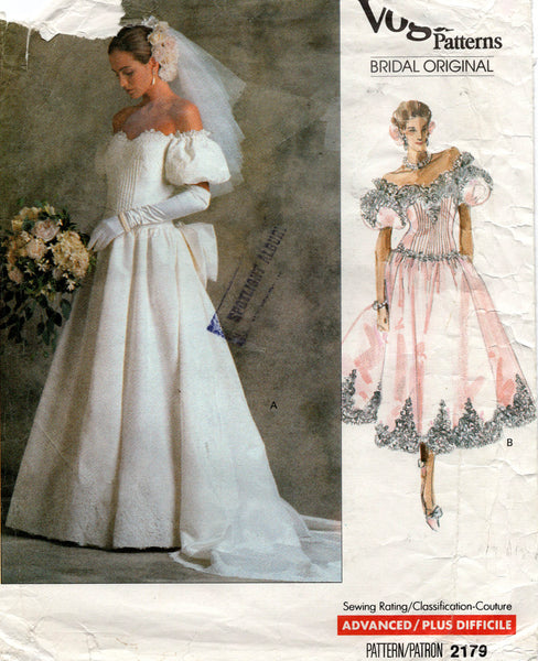 Vogue 2179 80s wedding dress