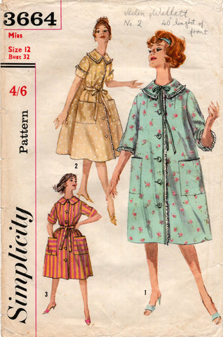 simplicity 3664 60s house coat and dress