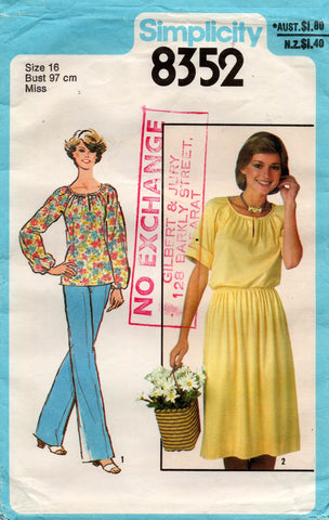 Simplicity 8352 70s dress top pants