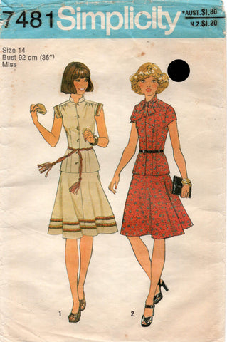 simplicity 7481 70s top and skirt