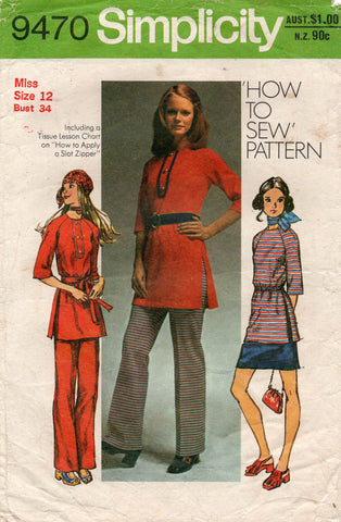 simplicity 9470 70s tunic skirt and pants