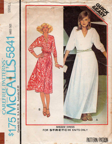 McCall's 5841 easy stretch 70s dress