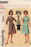 Simplicity 5066 Womens JIFFY Kimono Sleeved Dress 1960s Vintage Sewing Pattern Size 12 Bust 32 inches