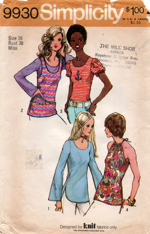 simplicity 9930 stretch tops 70s