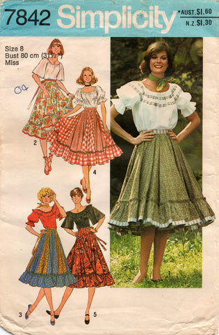 simplicity 7842 70s peasant top and skirt