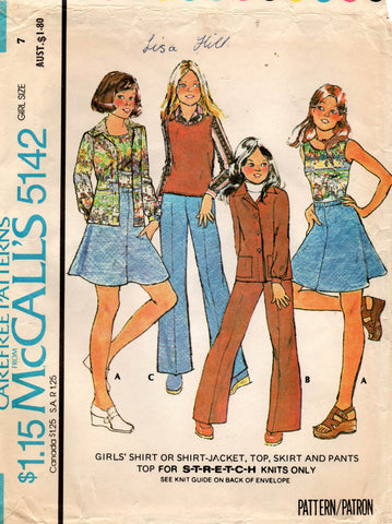McCall's 5142 girls 70s separates