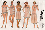 Vogue 9765 Womens Retro Lingerie Teddy Camisole Half Slip & Panties 1980s Vintage Sewing Pattern Size 6 - 14 UNCUT Factory Folded