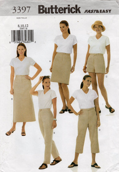 butterick 3397 pants shorts skirts oop
