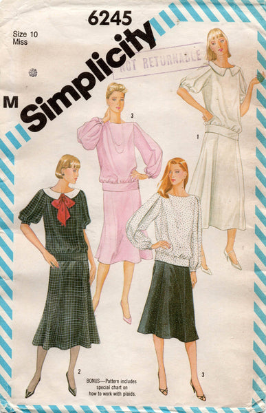 simplicity 6245 80s top and skirt