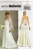Butterick 4734 Womens Boned Bodice Wedding or Evening Gown OOP Sewing Pattern Size 8 - 14 or 16 - 22 UNCUT Factory Folds