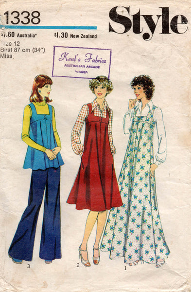 Style 1338 Womens Pinafore Dress or Maxi & Blouse 1970s Vintage Sewing Pattern Size 12 Bust 34 Inches