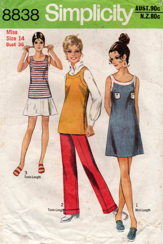 simplicity 8838 70s dress tunic pants