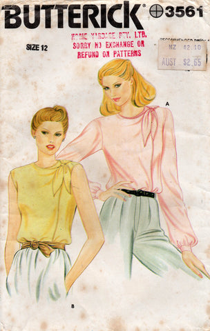 Butterick 3561 Womens Asymmetric Shoulder Tie Blouses 1980s Vintage Sewing Pattern Size 12 UNCUT Factory Folds