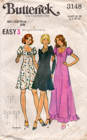 butterick 3148 70s dress